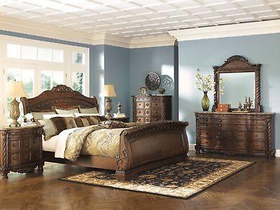 Ashley Furniture North Shore Queen Sleigh 6 Piece Bedroom Set B553-77