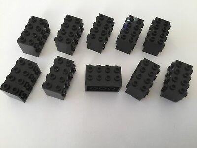 10 Lego Bausteine 2x4x2 schwarz Konverter mit Noppen auf der Seite NEU 2434