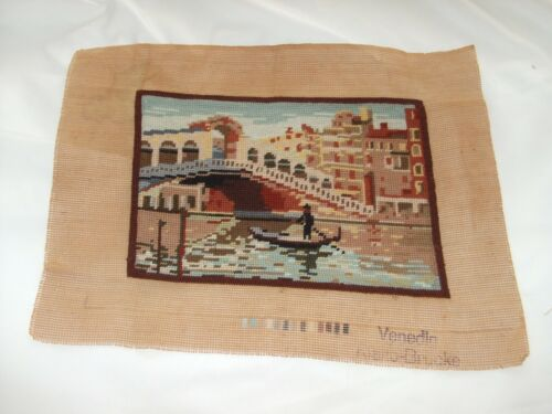 Vintage Needlepoint Picture Of Gondola In Venice