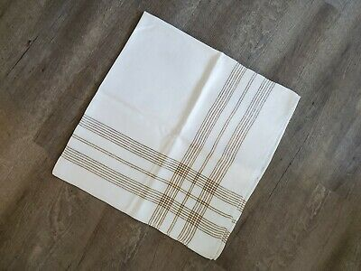 "Vintage Linen Table Cloth 41x42"" Mustard Yellow, Ivory and Black Check Plaid"