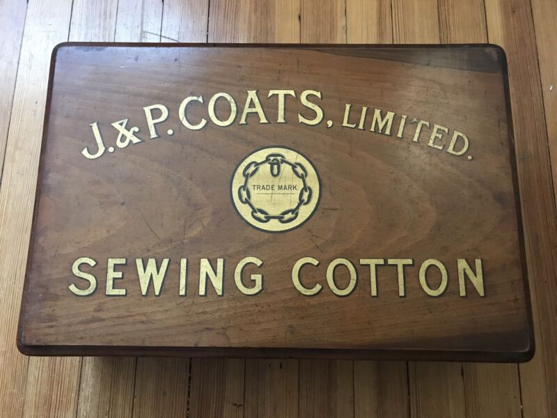 J & P Coats 2 Drawer Spool / Thread Mahogany Cabinet  Excellent Condition