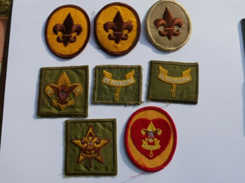 Group of 8 Vintage Boy Scouts of America  BSA  Badges of Rank Patches 1960s 70