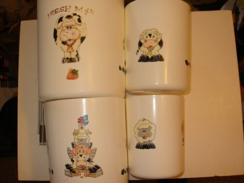 Vintage Tupperware 4 piece Canister set - Cows, Sheep, Chickens, Milk graphics