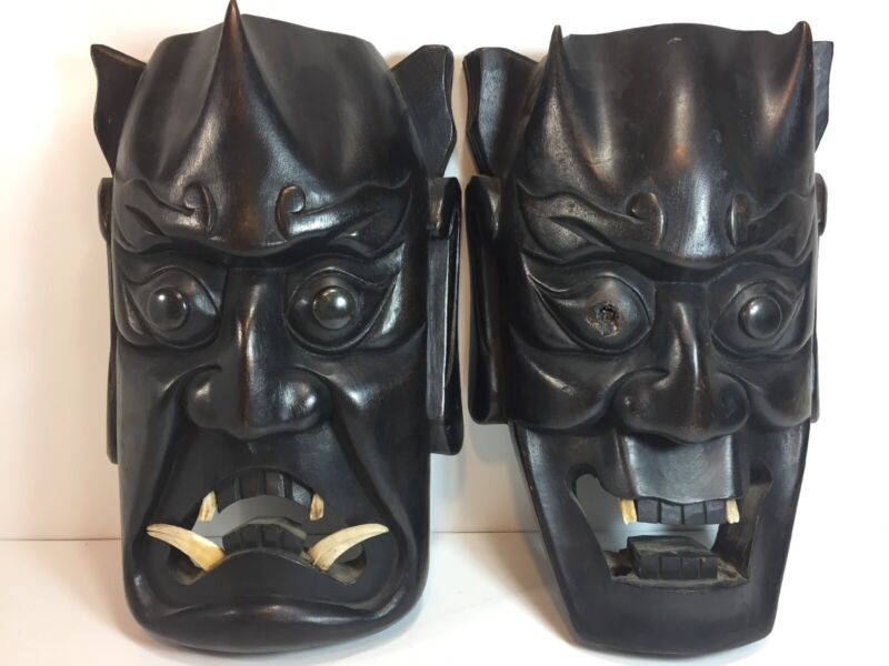 2 Vintage Japanese Hannya Masks Horned Evil Demon Devil Oni Noh Kabuki
