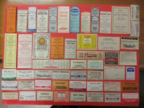 51+OLD PHARMACY-APOTHECARY-MEDICINE BOTTLE LABELS=EPHEMERA=NICE SELECTION