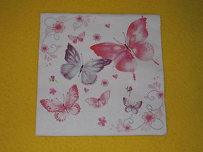 5 stück Servietten rosa Schmetterlinge GENTLE butterflies 1/4 Serviettentechnik