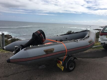 5 Person Rigid Hull Inflatable Boat with 35HP Mercury Motor