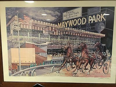 MayWood Park Race Track Historic Vintatage Lithograph signed numbered up to 1000](Track Number Ups)
