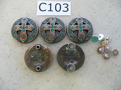 #C103 Enmon Lot of 5 Green Rhinestone Cross Bronze Conchos Western 28mm Diameter