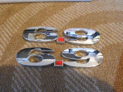 FORD 6.9L 6.9 DIESEL ENGINE FRONT FENDER TAILGATE DASH EMBLEMS CHROME W RED PAIR