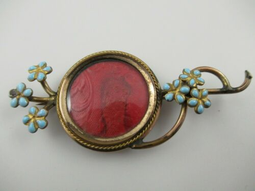 Antique Victorian Gold Filled Photo Brooch Pin W/ Blue Enamel Petals Need Repair