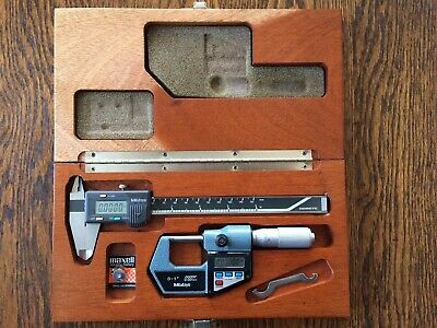 Mitutoyo Digital Caliper Cd-6b Micrometer 293-765-10 Set In Wood Case