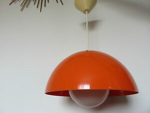 lampe lustre suspension plastique orange typique annees 70 vintage ebay. Black Bedroom Furniture Sets. Home Design Ideas
