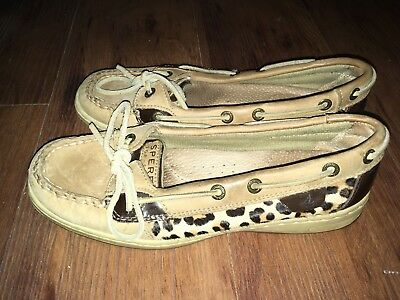 Leop Pony - Women's Sperry Boat Shoes, Angelfish Linen/Leop Pony, Cheetah Print, Size 6.5