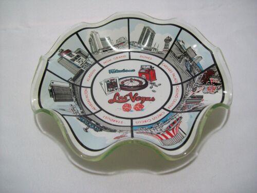 Vintage Fabulous Las Vegas Glass Ashtray Featuring 8 Casinos Very Rare