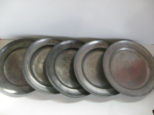 Lot of Five (5) Pewter Plates Antique Germany 1800 - 1850