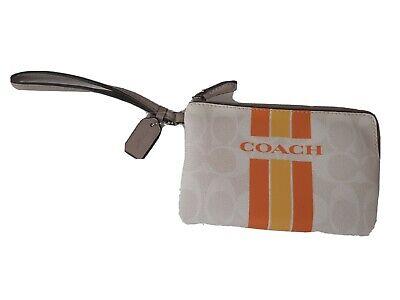 Coach wristlet zip purse white orange