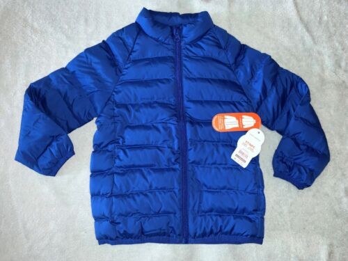 New 5T BLUE PACKABLE JACKET WATER REPELLENT Warm Bubble Coat Spring Fall Pocket