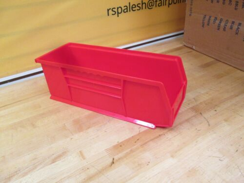 ULINE PLASTIC STACKABLE BINS   RED  PN: S12418R 36 PIECES, 3 CASES ~NEW~