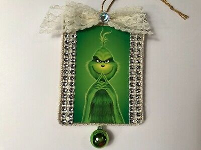 Grinch Christmas ornament, handcrafted wood, green ornaments,  item #8D - Grinch Items