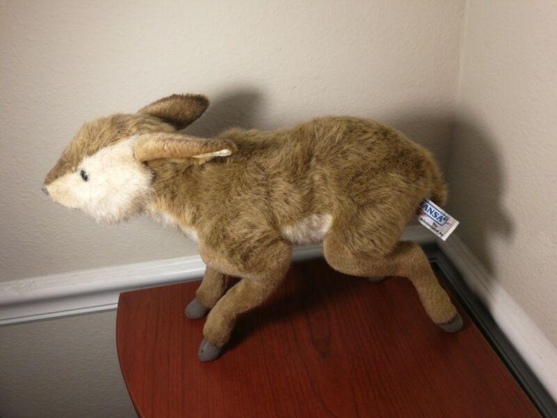 "Hansa Brown Bushbuck Kid Baby Deer Realistic Plush Toy 12"" High Bendable Pose"