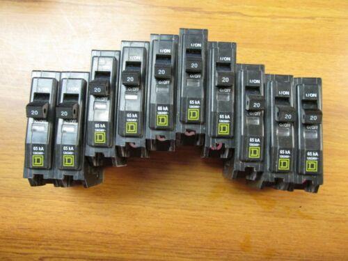 Square D 65k Circuit Breakers 1 Pole, 20 Amp, Cat# QHB120 ( Lot of 10).. UA-622