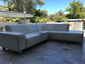 L shaped 3 seat leather chaise lounge
