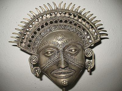 Thailand Mask Bronze Figure Goddess Asian Face Tattoo Art Third Eye Swirl