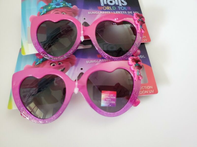 TROLLS PRINCESS POPPY Sunglasses Girls Pink Sparkle 100% UV Shatter Set of 2 NWT
