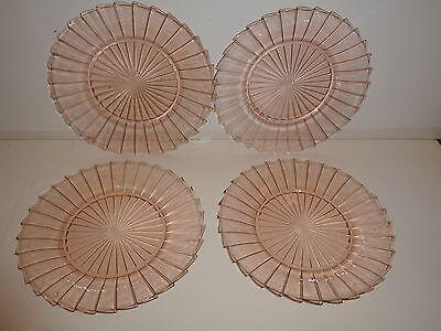 "Vintage Set 4 Jeannette Sierra Pinwheel Pink Depression Glass Dinner Plates, 9"""