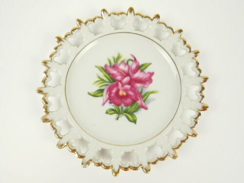 """1960s Napco Japan Hand Painted 8"""" Reticulated Decorative Plate Pink Iris Flowers"""