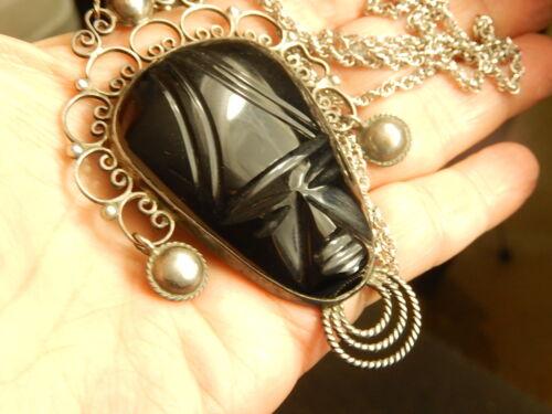 """Antique Silver Carved Black Onyx MASK PENDANT NECKLACE 24"""" Vintage LARGE Ornate"""