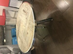 Urban Barn Reclaimed Wood + Chrome ADJUSTABLE COFFEE TABLE