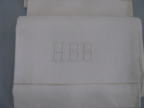 ANTIQUE LARGE LINEN TOWELS  PAIR WHITE DAMASK EMBROIDERED MONOGRAM HBB 41/26""