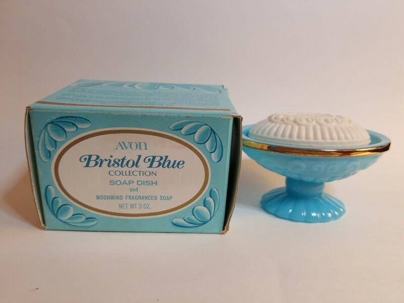 Vintage 1974 Avon Bristol Blue Collection Opaline Soap Dish & Soap & Box NOS