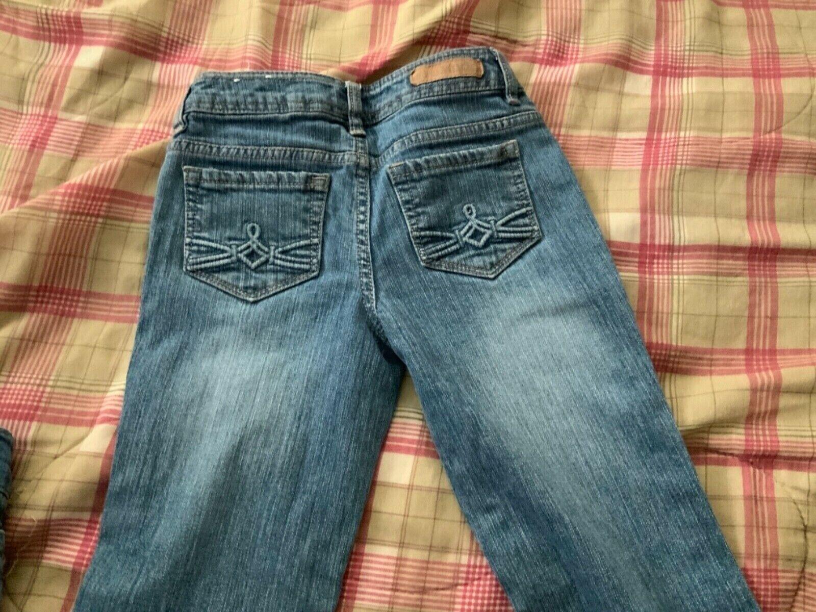 Mudd Girl Jeans Size 10 SLIM Pocket Detail Adjustable Waist Boot Cut Or Flare