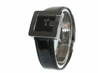 """Auth GUCCI 3600L """"G Series"""" Black Dial Leather Band Watch GW13875L"""