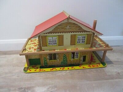 Vintage Gee Bee wooden chalet dolls house with garage