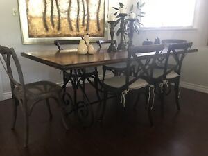 ELTE Harvest Dining Table with 6 Restoration Hardware Chairs