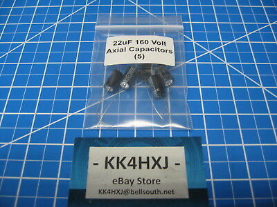 22uf 160v Axial - Premium Electrolytic Capacitors - Lot Of 5 - Sc Brand