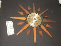 Sears Wall Clock Mid Century Vintage Sunburst Atomic Starburst Retro