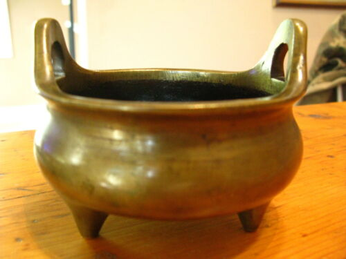 Chinese Bronze Censer Tripod With Ming Dynasty Mark