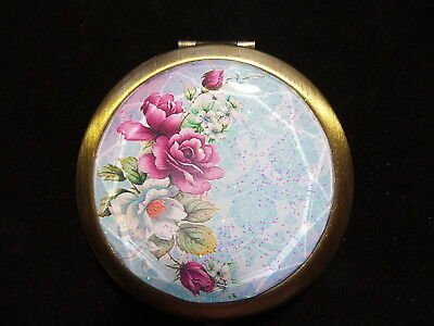 Victorian Roses Antique Bronze Compact Mirror With Compartment
