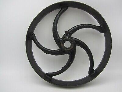 Vtg Antique Cast Iron Flat Belt Pulley Line Shaft Hit Miss Engine Curved Spoke