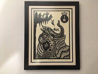Human Sacrifice To Frog God, Weird, Satanic, Pagan, Occult Art Framed 12
