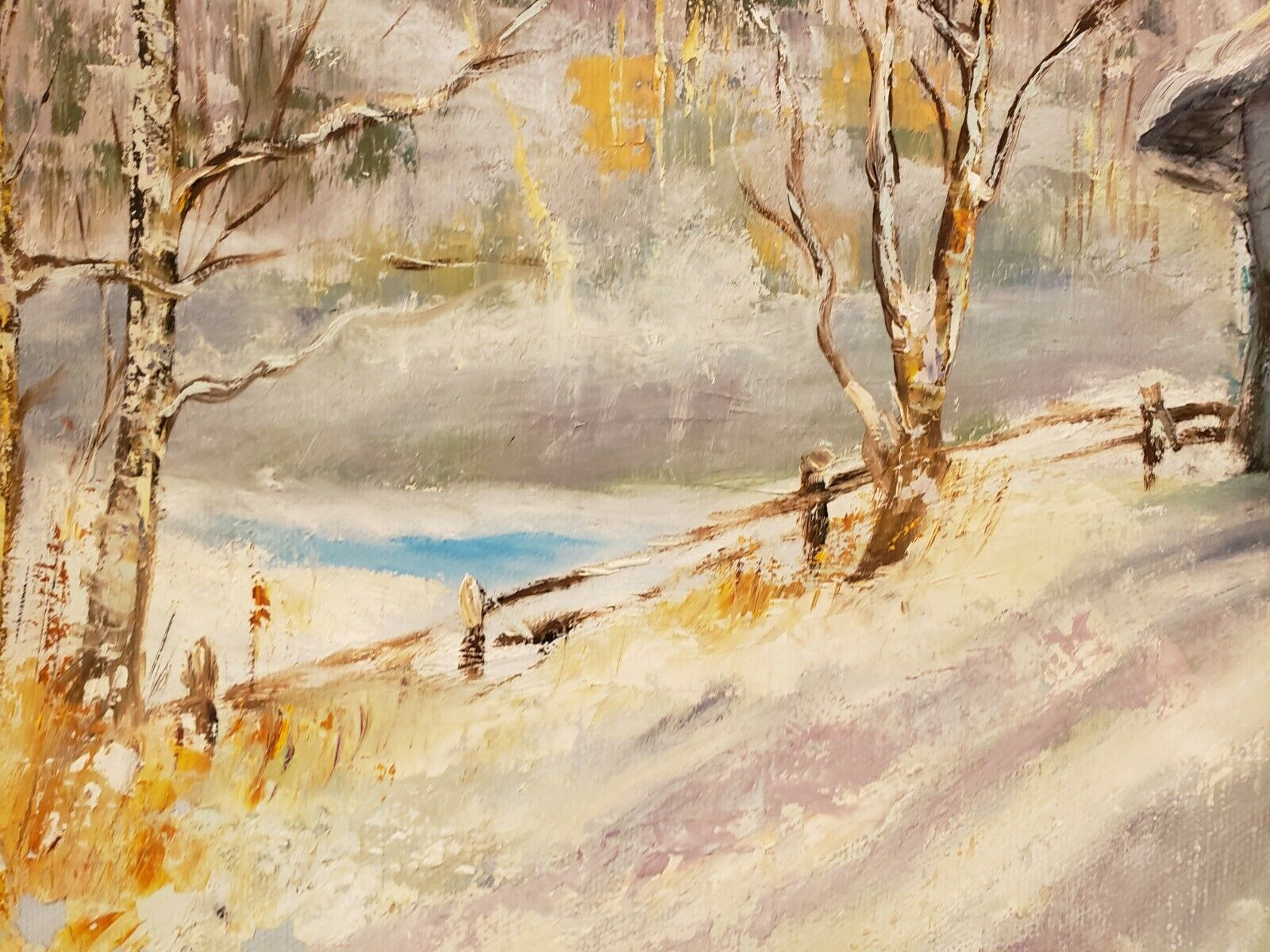 Original Oil Painting On Canvas Winter Landscape Signed 21 X 27  - $129.95