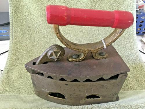 Vintage Cast Iron Coal Heated Sad Iron- Star Latch & Red Wood Handle - Free Ship