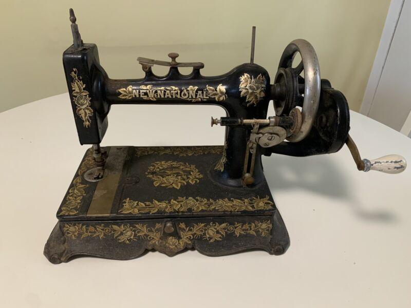 Very Rare Antique New National Light Running New Home Sewing Machine Hand Crank