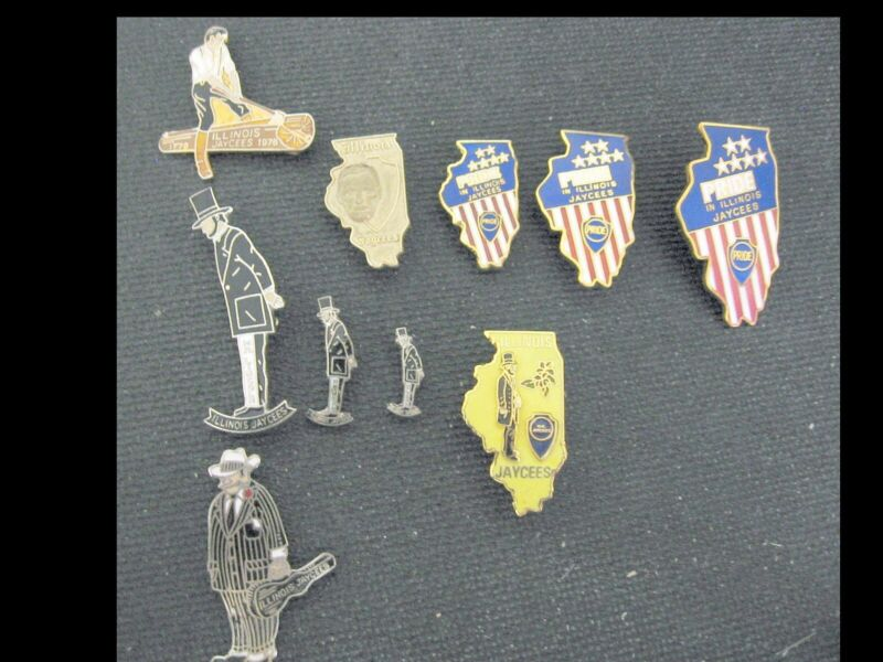 Illinois Jaycees Pins Abraham Lincoln State Outlines Log Splitting Memorabilia