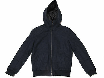 Armani Exchange A/X Mens Navy Blue Wool Slim Fit Hooded Winter ...